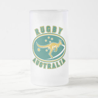 rugby australia kangaroo wallaby aussie frosted glass beer mug