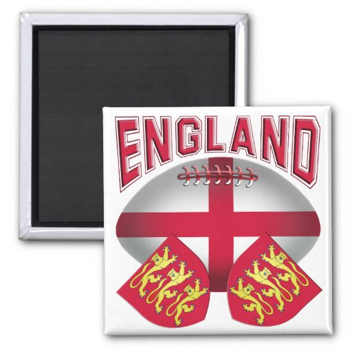 Rugby Ball Flag of England 2 Inch Square Magnet