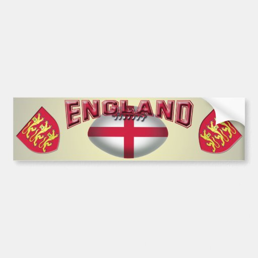 Rugby Ball Flag of England Bumper Sticker