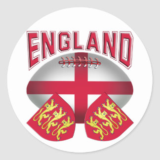 Rugby Ball Flag of England Classic Round Sticker