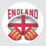 Rugby Ball Flag of England Round Stickers