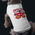 """Rugby Ball Flag of England T-Shirt<br><div class=""""desc"""">Rugby ball with the flag of England embossed across the rugby ball and the coat of arms of England in both bottom corners.  England in super-sized red lettering above the rugby ball.  Makes a great gift for rugby fans,  players and coaches.</div>"""