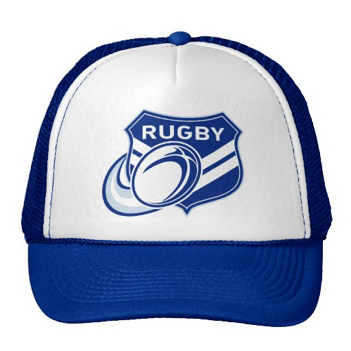 rugby ball flying with shield trucker hat