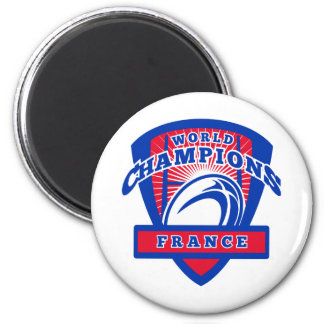 Rugby ball France World Champions 2 Inch Round Magnet