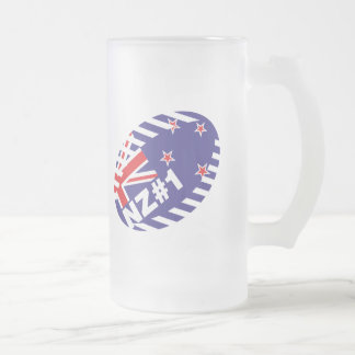 Rugby Ball NZ#1 Frosted Glass Beer Mug