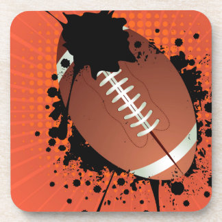 Rugby Ball on Rays Background Drink Coaster