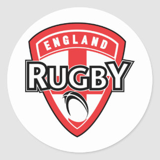 rugby ball shield england cross flag classic round sticker