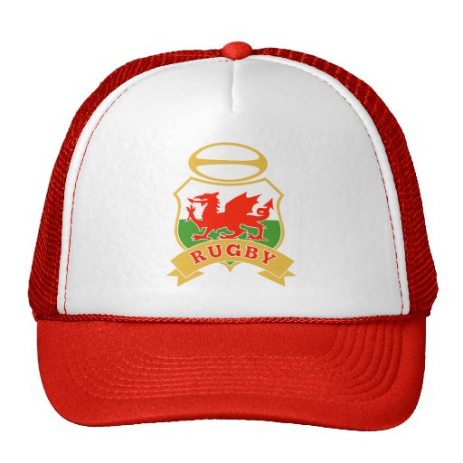 rugby ball wales red welsh dragon shield trucker hat