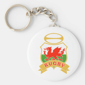 rugby ball wales red welsh dragon shield keychain