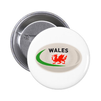 Rugby Ball Wales Welsh dragon Pinback Button