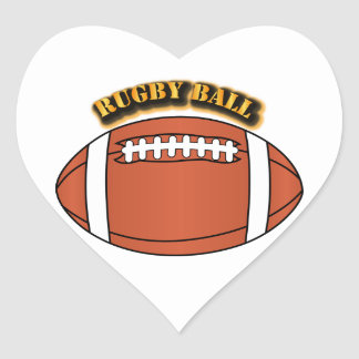 Rugby Ball with Text Heart Sticker