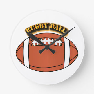 Rugby Ball with Text Round Clock