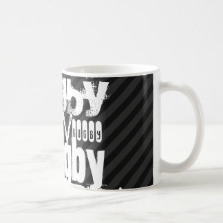 Rugby; Black & Dark Gray Stripes Coffee Mug