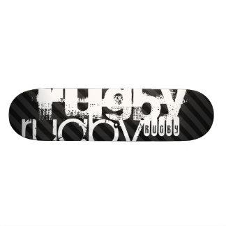 Rugby; Black & Dark Gray Stripes Skateboard Deck