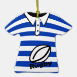 Rugby Blue Striped Photo Christmas Tree Ornaments