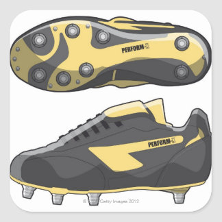Rugby boots square sticker