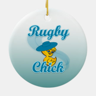Rugby Chick #3 Double-Sided Ceramic Round Christmas Ornament