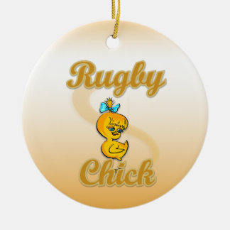 Rugby Chick Double-Sided Ceramic Round Christmas Ornament