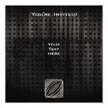 Rugby; Cool Black 5.25x5.25 Square Paper Invitation Card