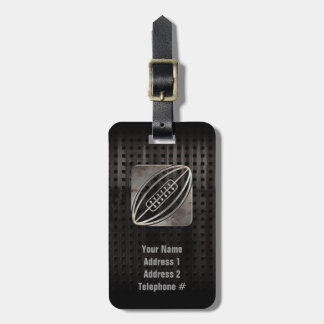 Rugby; Cool Black Luggage Tag