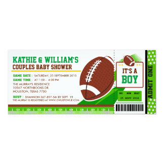 Rugby Football Couples Baby Shower Invitation