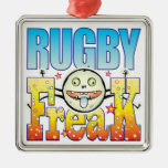 Rugby Freaky Freak Square Metal Christmas Ornament