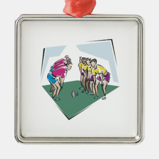 Rugby Game Square Metal Christmas Ornament