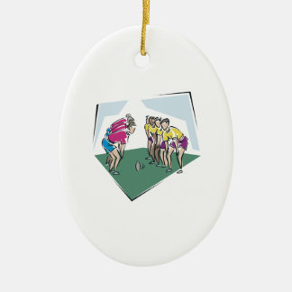 Rugby Game Double-Sided Oval Ceramic Christmas Ornament