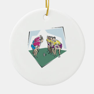 Rugby Game Double-Sided Ceramic Round Christmas Ornament