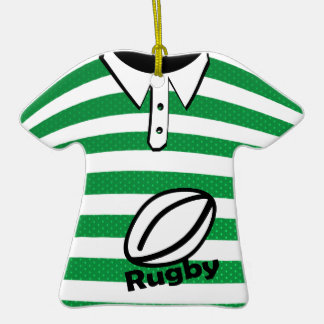 Rugby Green Striped Photo Ornaments