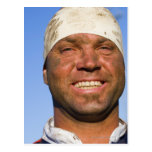 Rugby hooligan postcard