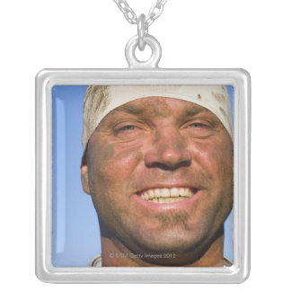 Rugby hooligan silver plated necklace