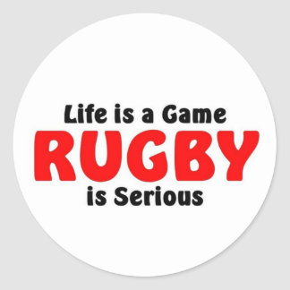 Rugby is serious classic round sticker