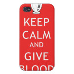 Rugby - Keep Calm & Give Blood Case For iPhone 4