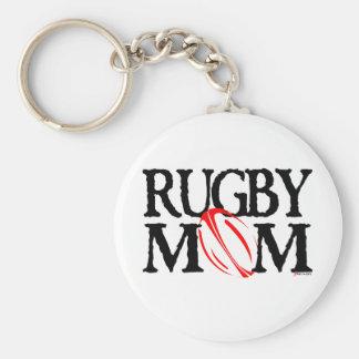 rugby mom basic round button keychain