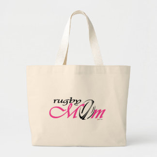 rugby mom (pink) large tote bag