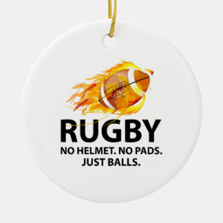 Rugby. No Helmet. No Pads. Just Balls. Double-Sided Ceramic Round Christmas Ornament