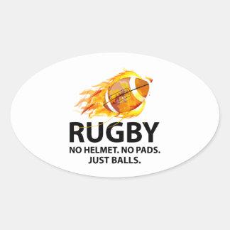 Rugby. No Helmet. No Pads. Just Balls. Oval Sticker
