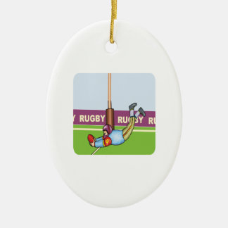 Rugby Double-Sided Oval Ceramic Christmas Ornament