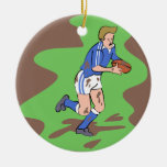 Rugby Double-Sided Ceramic Round Christmas Ornament