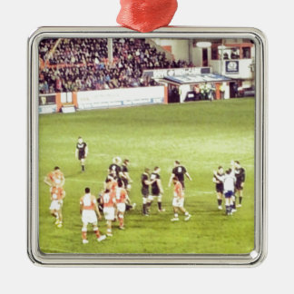 Rugby Silver-Colored Square Decoration