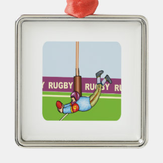 Rugby Square Metal Christmas Ornament