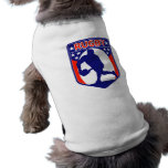 rugby passing front view ball shield doggie t shirt