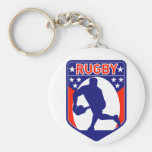 rugby passing front view ball shield key chains