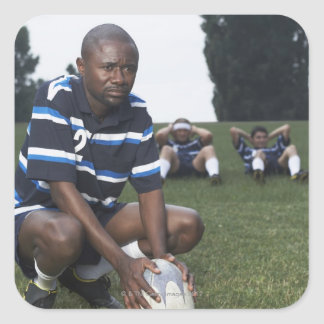 Rugby player 2 square sticker