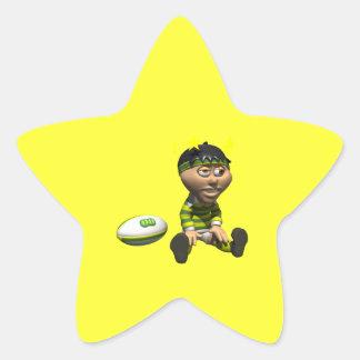 Rugby Player 3 Star Sticker