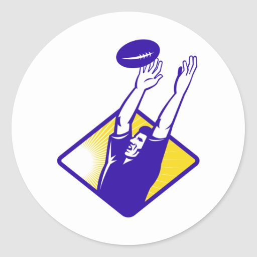 Rugby Player Catching Lineout Ball Round Sticker