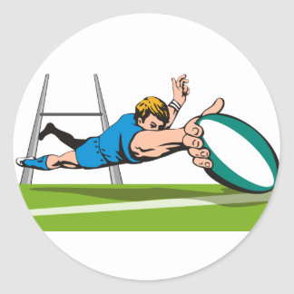 Rugby player diving scoring a try classic round sticker