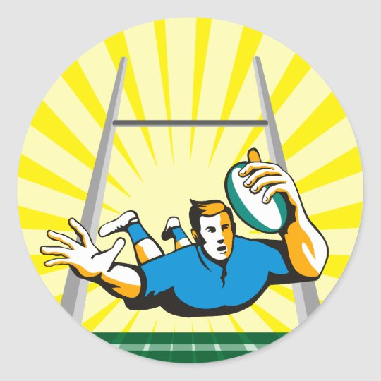 rugby player diving to score a try classic round sticker