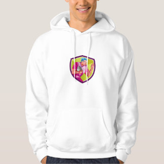 Rugby Player Fend Off Low Polygon Hoodie